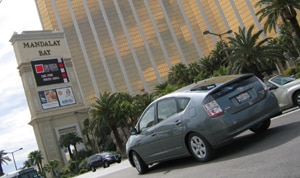 A three-quarter rear view of a 2005 Toyota Prius in Las Vegas