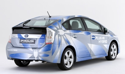 A three-quarter rear view of a Toyota Prius Plug-In prototype