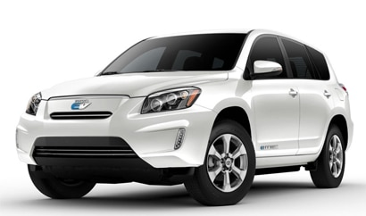 A three-quarter front view of a 2013 Toyota RAV4 EV