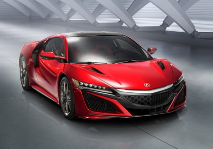 A three-quarter front view of the Acura NSX
