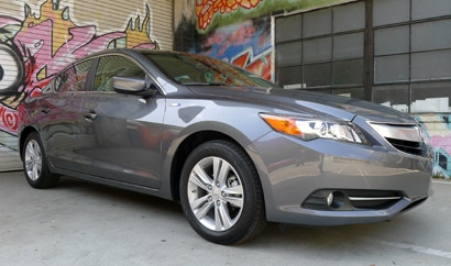 A three-quarter front view of the Acura ILX Hybrid, one of GAYOT's Top 10 City Cars