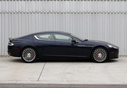 A side view of the Aston Martin Rapide S, one of GAYOT's Top 10 4-Door Sports Cars