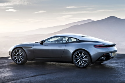 A three-quarter rear view of the 2017 Aston Martin DB11 Prototype