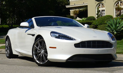 A three-quarter front view of a 2013 Aston Martin DB9 Volante