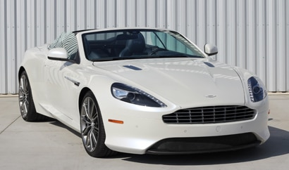 A three-quarter front view of the Aston Martin DB9 Volante