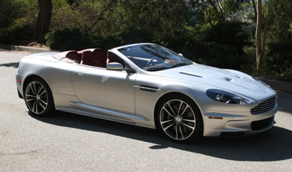 A three-quarter front view of a 2010 Aston Martin DBS Volante