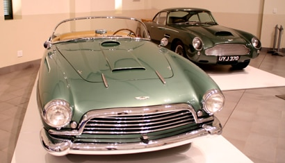 A front view of the 1956 Aston Martin DB2/4 Superleggera on display at the Franschhoek Motor Museum in Franschhoek, South Africa