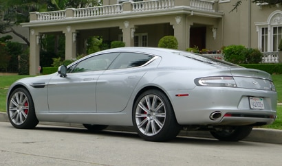 A three-quarter rear view of a 2011 Aston Martin Rapide