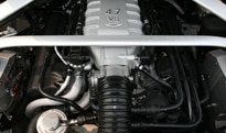 A view of the 2009 Aston Martin V8 Vantage Roadster's V8 engine
