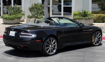 A three-quarter rear view of a 2012 Aston Martin Virage Volante