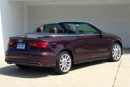 A three-quarter rear view of the 2015 Audi A3 Cabriolet 1.8T FWD S tronic