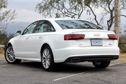 A three-quarter rear view of the Audi A6 2.0T quattro Tiptronic
