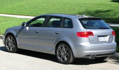 A three-quarter rear view of a silver 2010 Audi A3