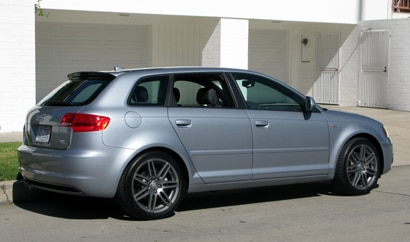 A three-quarter rear view of a 2010 Audi A3 2.0 TFSI quattro Auto S-Tronic