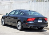 A three-quarter rear view of an Audi A7, one of our Top 10 4-Door Sports Cars