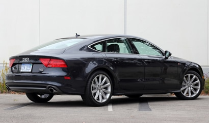 A three-quarter rear view of a 2012 Audi A7 Quattro