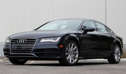 A three-quarter front view of a 2012 Audi A7