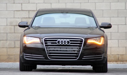 A front view of a black 2011 Audi A8
