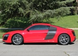 A side view of a 2013 Audi R8 V10 plus Coupe, one of our Top 10 Fun-to-Drive Cars