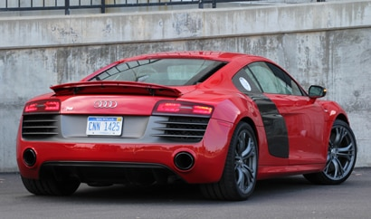 A three-quarter rear view of a 2012 Audi R8 Spyder
