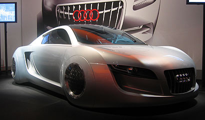 The Audi RSQ, which was designed for the movie, I, Robot, was the model for the Audi R8.