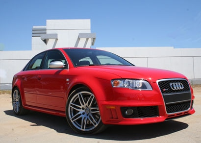 A three-quarter front view of a red 2007 Audi RS 4