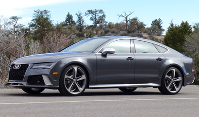 A three-quarter front view of the 2014 Audi RS 7, one of our Top 10 4-Door Sports Cars