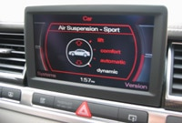 Audi S8 MMI screen with air suspension settings