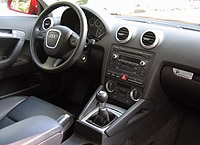 A front interior view of the 2006 Audi A3 2.0 T MT6