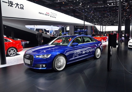 The Audi A6 e-Tron on  display at Auto Shanghai