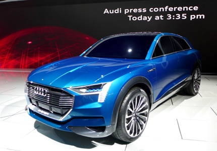 A three-quarter front view of the Audi e-tron quattro concept, unveiled at this year's LA Auto Show