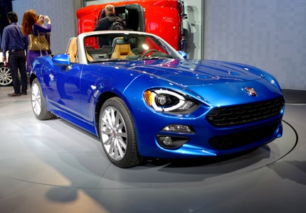 A three-quarter front view of the Fiat 124 Spider Conveertible, which debuted at this year's LA Auto Show