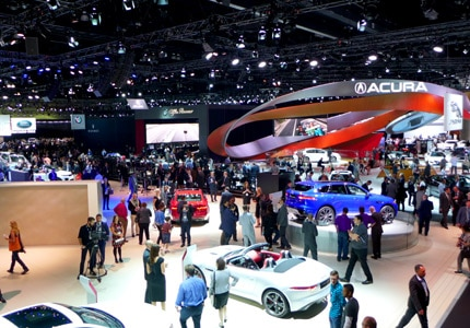 An overhead view of the 2015 LA Auto Show floow at the Los Angeles Convention Center