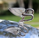A detail view of the 2016 Bentley Mulsanne emblem, one of GAYOT's recently reviewed vehicles