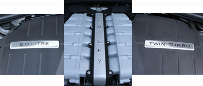 The 6.0-liter twin-turbocharged 12-cylinder engine of the Bentley Continental GTC