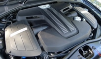 The twin-turbocharged V8 engine of the 2013 Bentley Continental GT V8