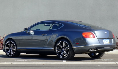 A three-quarter rear view of a Bentley Continental GT V8