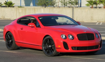 A three-quarter front view of a Bentley Continental Supersports