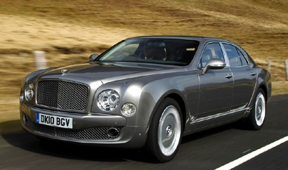 A three-quarter front view of a 2011 Bentley Mulsanne in action