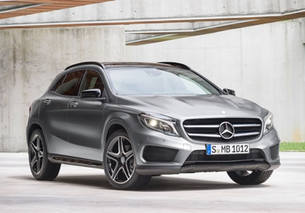 A three-quarter front view of a 2016 Mercedes-Benz GLA250 4MATIC, one of GAYOT's Top 10 Best New Cars