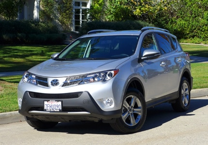 A three-quarter front view of the Toyota RAV4, the 10th best-selling vehicle in 2015