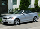 A three-quarter front view of a 2008 BMW 128i Convertible