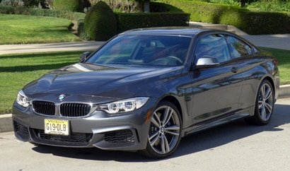 A three-quarter front view of the 2014 BMW 435i