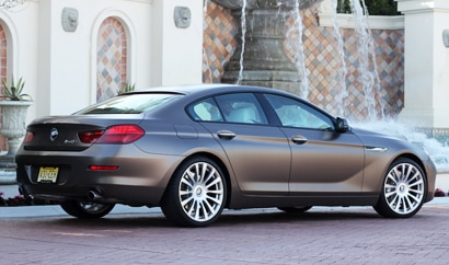 A three-quarter rear view of the BMW 640i Gran Coupe, previously featured on GAYOT's Top 10 4-Door Sports Cars