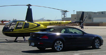 A 2006 BMW 650i Convertible ready for take off at the airstrip