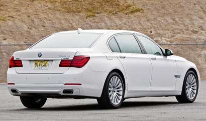 A three-quarter rear view of the 2013 BMW 750Li Sedan