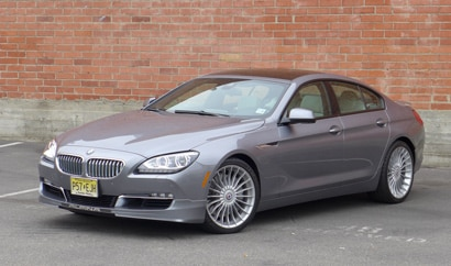 A front three quarter view of the 2015 Alpina B6 Gran Coupe