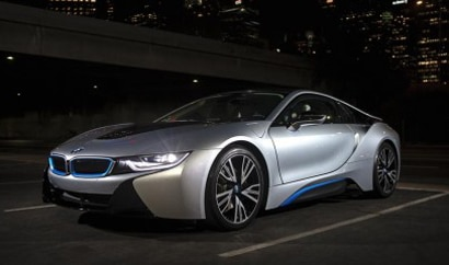 A three-quarter front view of the BMW i8 electric sports car