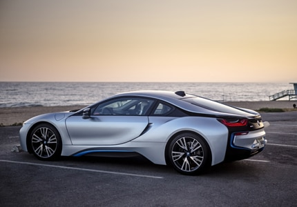 The BMW i8 hybrid-electric 2-door sports car