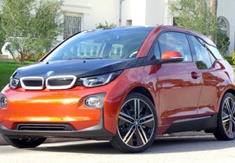 A three-quarter front view of the BMW i3